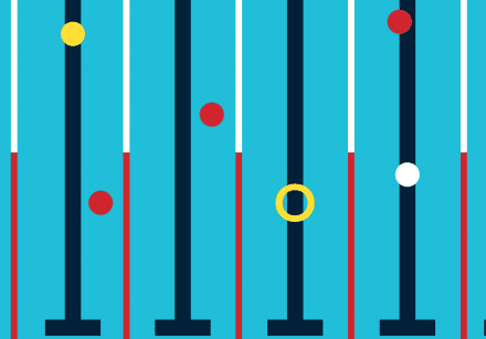 PaddlePod lane line graphic - blue pool with blue, red and white lane dividers and yellow and red circles