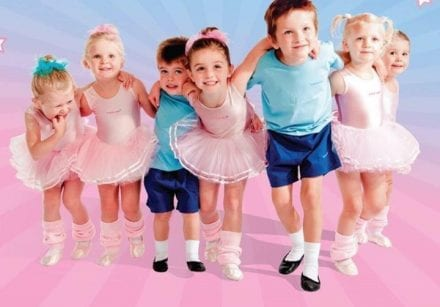 babyballet promotional image - young boys and girls enjoy a ballet class